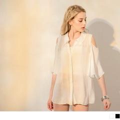 0417新品 素色透膚挖肩傘擺袖造型襯衫領上衣.2色
