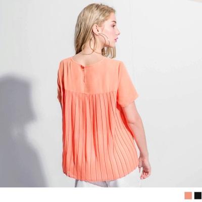 【消暑狂降$189up】後百褶拼接造型雪紡圓領寬鬆短袖上衣.2色