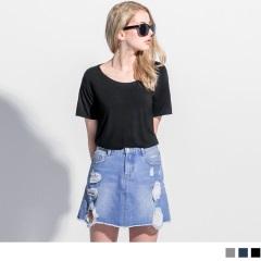 【初夏特賣會♥2件5折】基本款彈性親膚質感不收邊圓領短袖上衣.3色