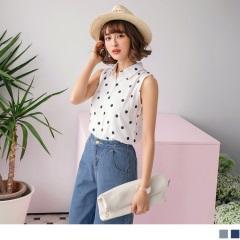 0601新品 滿版點點圖案襯衫領排釦無袖上衣.2色