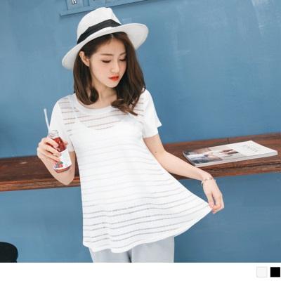 0616新品 正面拼接透膚橫條紋純色傘襬上衣.2色