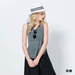 0420新品 混色透膚口袋後排釦造型無袖背心.2色