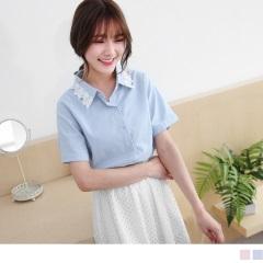 0711新品 粉嫩純色領邊蕾絲點綴棉麻襯衫.2色
