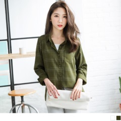 0523新品 都會感格紋排釦單邊口袋襯衫.2色