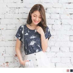 0614新品 潑漆造型竹節棉連袖T恤.3色