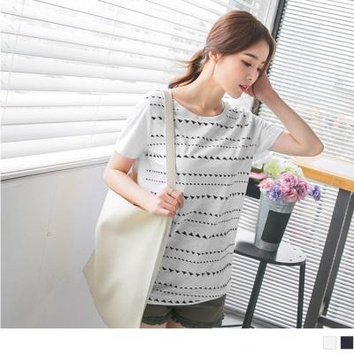 0626新品 正面三角橫條圖騰印花竹節棉T袖.2色