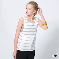 橫條紋親膚彈性假兩件配色無袖背心.2色