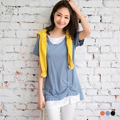 台灣製造.高含棉下襬側抓皺鈕釦假兩件式長版上衣.3色