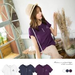 0417新品 台灣製造.幾何刺繡前襟排釦純色竹節棉T恤.3色