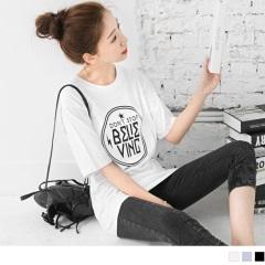 0524新品 英文燙印柔軟高棉量五分袖寬鬆長版上衣.3色
