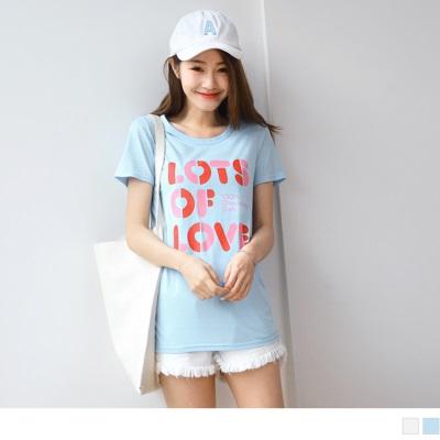 0615新品 台灣製造.配色英文字母燙印高含棉圓領T恤.2色