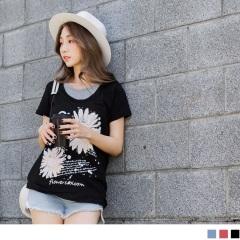 0524新品 台灣製造.配色假兩件式花朵燙印竹節棉上衣.2色
