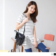 0816新品 台灣製造.假兩件式側襬開衩橫條長版上衣.2色