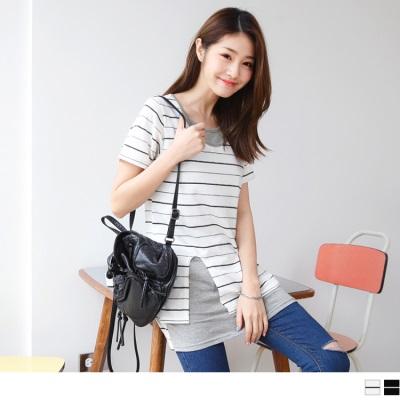 0613新品 台灣製造.假兩件式側襬開衩橫條長版上衣/洋裝.2色