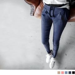 0815新品 實搭主義~質感彈性面料打褶抽繩設計長褲.5色