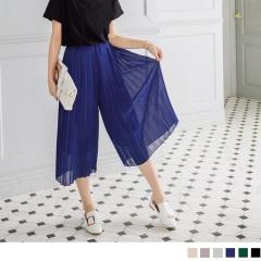 0603新品 腰圍鬆緊純色雪紡百褶寬褲裙.6色