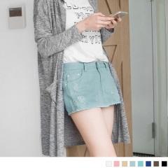 0815新品 個性刷破下襬抽鬚糖果色高含棉短褲裙.8色