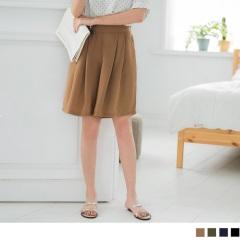 0516新品 純色雪紡打摺設計五分寬褲.4色
