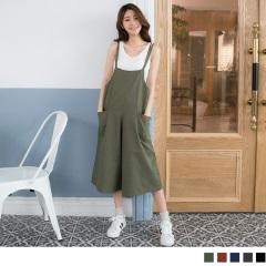 0419新品 質感高含棉水洗面料皮革點綴連身褲.4色