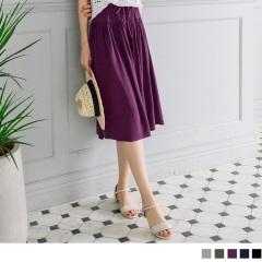 0603新品 素色腰鬆緊綁帶寬版褲裙.3色