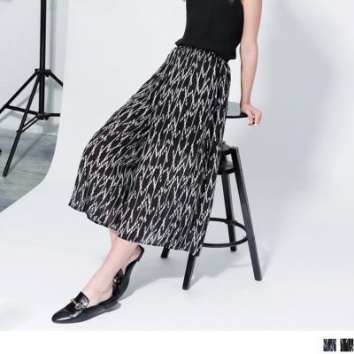 0612新品 雪紡垂墜感印花腰鬆緊寬版長褲.2色