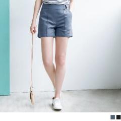 【周末限定♥現折100】素色金屬環釦中縫線造型短褲.2色