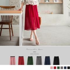 0417新品 腰圍鬆緊飄逸感純色一片式透紗長裙.5色