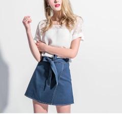 0417新品 車線配色綁帶造型層次襬短裙