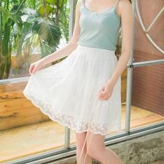 腰圍鬆緊波浪下襬潔白透膚蕾絲紗裙