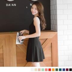 0807新品 十字花紋波浪裙修身背心洋裝.12色