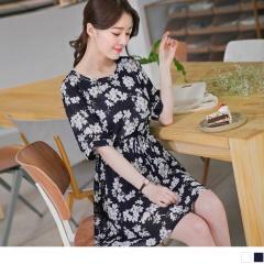 0609新品 滿版浪漫碎花圓領腰抽繩雪紡短袖洋裝.2色