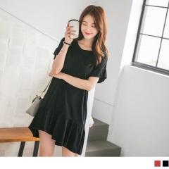 0613新品 袖口下襬抓皺設計純色高含棉洋裝.2色