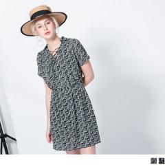0420新品 雪紡碎花造型襯衫領綁帶短袖洋裝.2色
