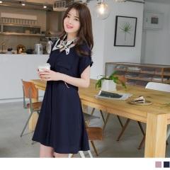 0613新品 附綁帶前襟打褶雙口袋純色反折連袖V領洋裝.2色