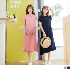 0419新品 純色飄逸質感面料圓弧翻領雙口袋寬鬆洋裝.2色