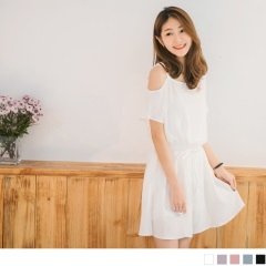 0621新品 素面斜肩吊帶腰抽繩綁帶連袖雪紡洋裝.5色