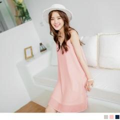 0619新品 甜美V領下襬透膚雪紡無袖連身洋裝.3色