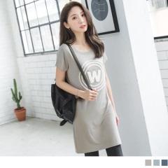 0623新品 W立體毛圈字母彈性柔軟圓領短袖洋裝.3色
