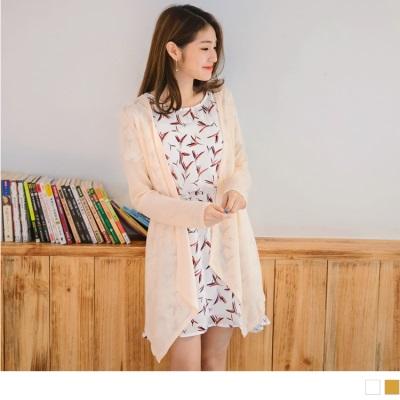 0802新品 葉子印花腰圍鬆緊抓皺圓領連身洋裝.2色