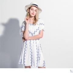 0417新品 葉子印花配色V領後綁帶短袖縮腰洋裝
