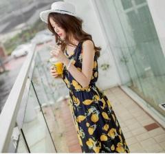 0811新品 檸檬花朵印花抽腰綁帶輕薄柔料背心長洋裝.2色