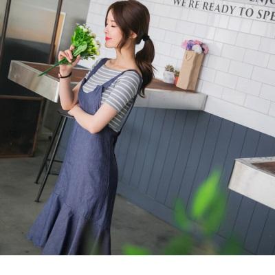 0616新品 前短後長魚尾裙襬光澤感素面高含棉吊帶牛仔洋裝