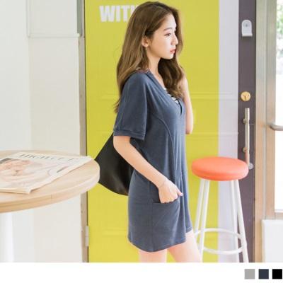 0616新品 台灣製造.腰部剪接設計素色休閒V領蝙蝠袖洋裝.3色