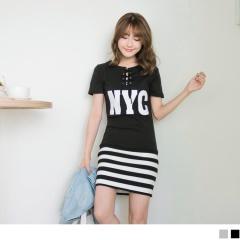 0622新品 交叉綁繩領口NYC印字下襬拼接橫條紋合身洋裝.2色