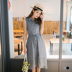 0816新品 素色口袋排釦下擺拼雪紡綁帶無袖長洋裝.2色