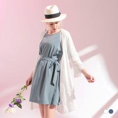 蕾絲鏤空拼接壓紋面料長版開襟寬鬆罩衫/外套.2色