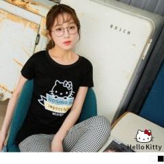 HELLO KITTY手寫印字袖口反摺合身T恤.2色
