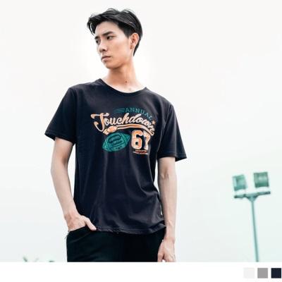 【酷夏黑白T♥任選69折】美式足球數字印花圓領短袖上衣.3色