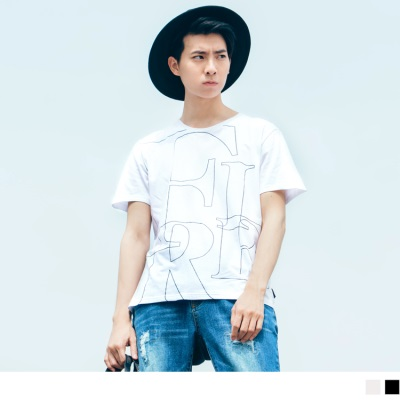 【酷夏黑白T♥任選69折】質感金屬線字母框設計圓領短袖上衣.2色