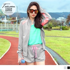 台灣品質.世界同布~拼色印字造型袖套式立領外套.2色